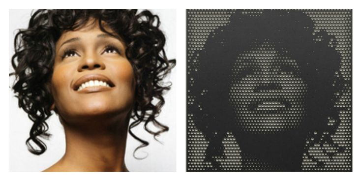 Mill your favorite pictures into wood with the online web-app from #Halvtone #whitneyhouston #singer #icon #superstar #iwillalwaysloveyou #bodyguard #blackwhite #wood #interior #design #living #milling #CNC #machine #webapp