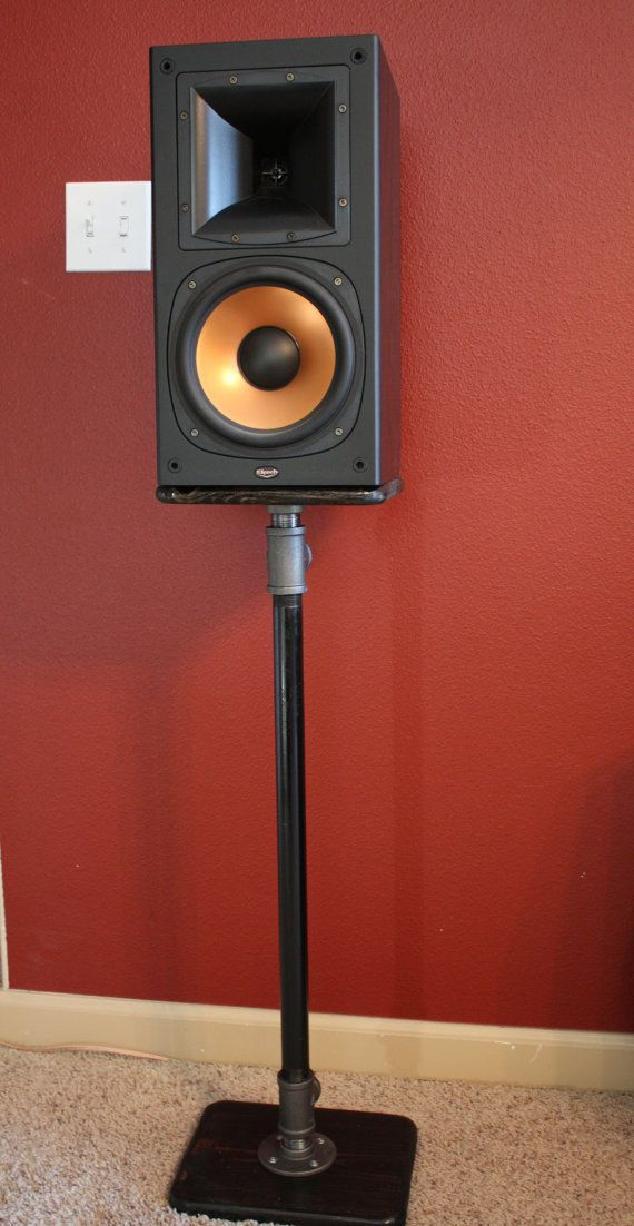 Industrial Pipe Bookshelf Speaker Stand Pair by AlpineWoodCo
