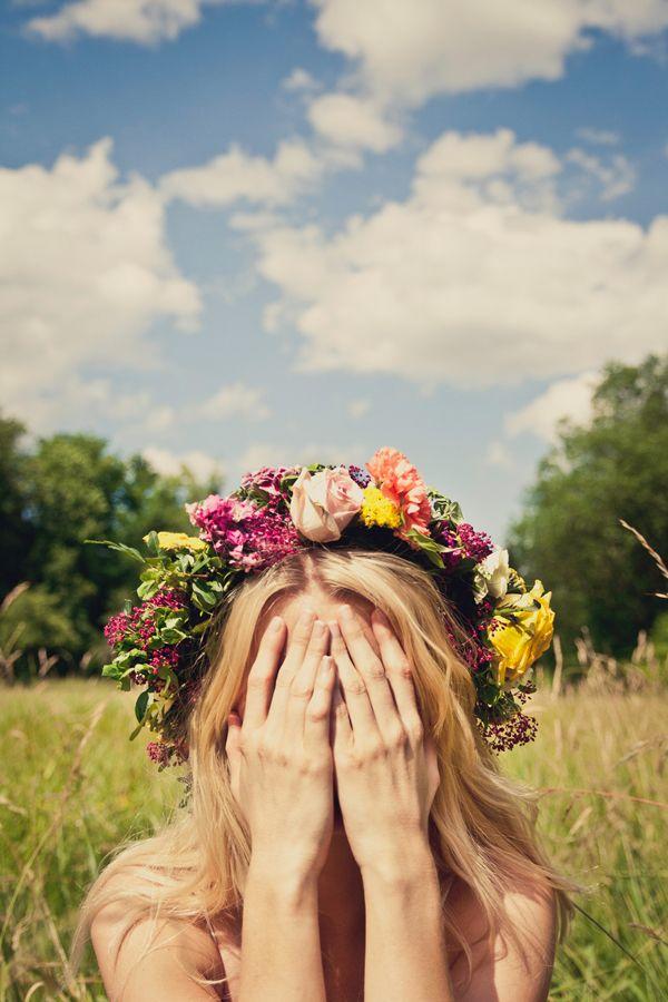 flower halo, blue skies.