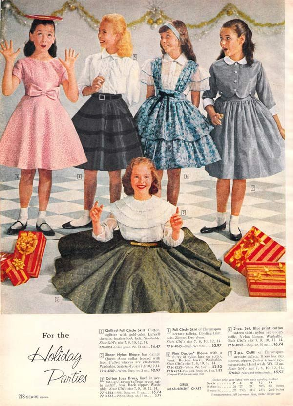 Children's fashion of the 1950s in the pages of foreign catalogs.
