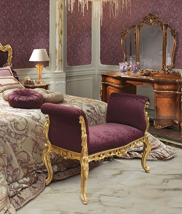 ALLEGRI bench with gold leaf carving