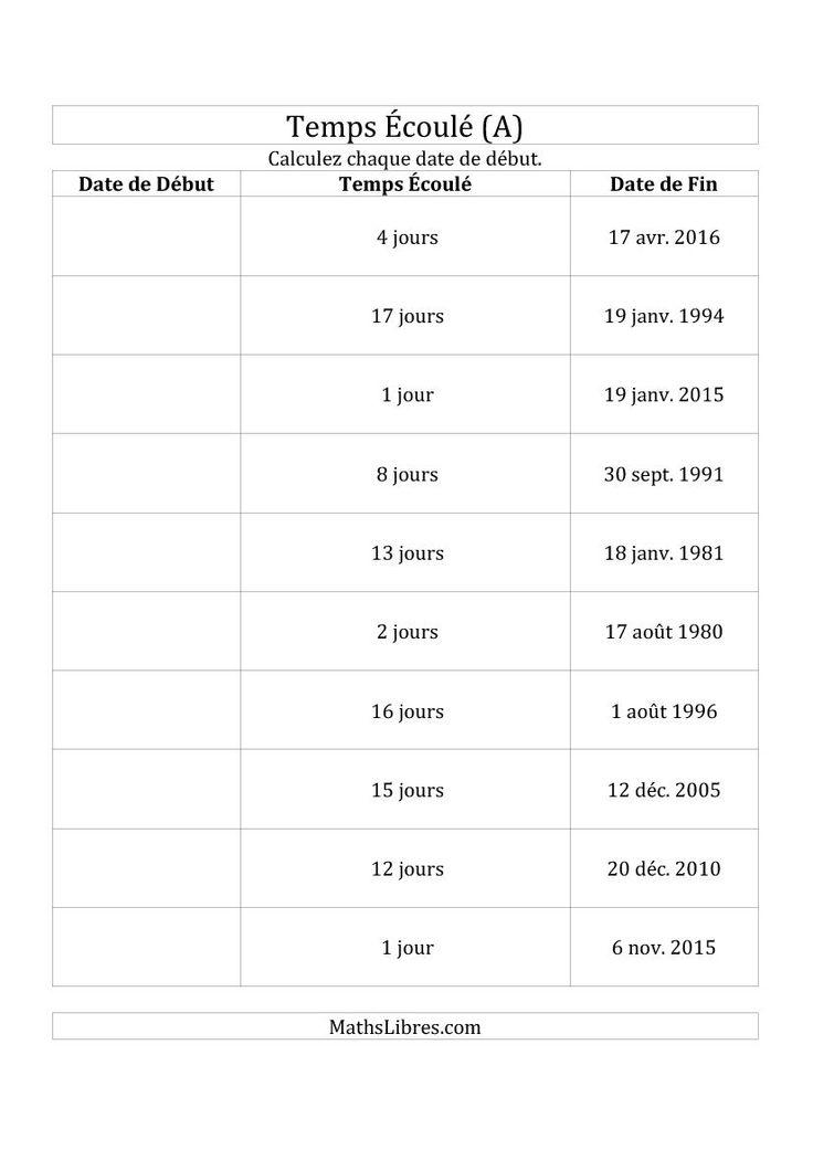Calculez la Date de Début à l'Aide du Temps Écoulé et la Date de Fin en Jours (A). Disponible le 14 Avril 2015.