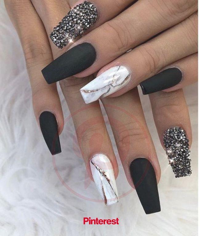 55 Impressive Matte Coffin Nail Art Designs In 2020 Black Nail Designs Nails Design With Rhine In 2020 Nails Design With Rhinestones Black Nail Designs Maroon Nails