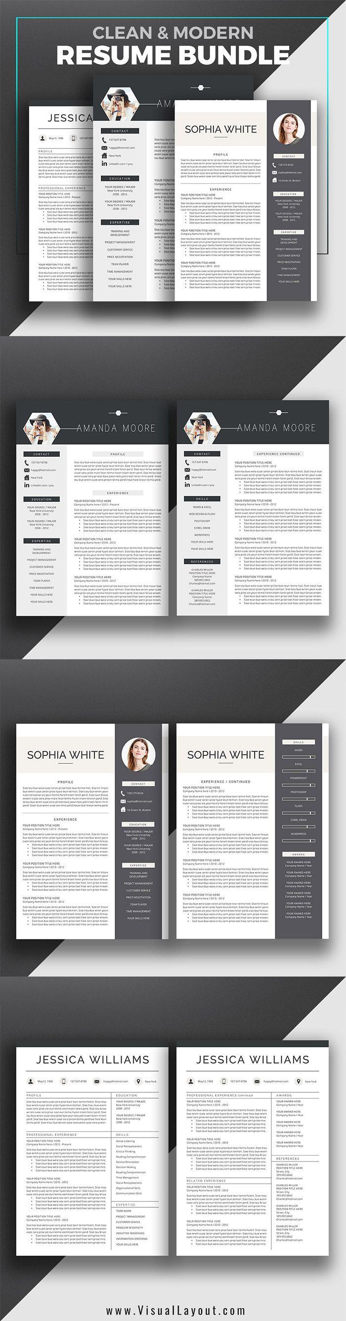 Professional Resume Bundle Clean u0026 Modern ResumeCV