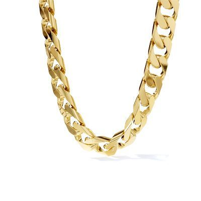 """Men's 10K Gold Solid Curb Chain Necklace - 22"""" - View All ..."""
