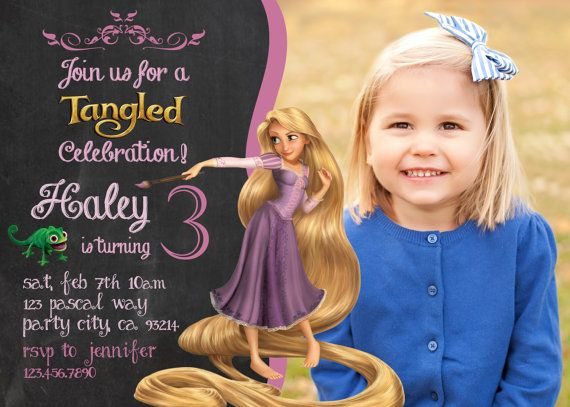 Tangled birthday invitation- Disney's Tangled - Disney Princess - Princess Rapunzel- Girl Chalkboard Card - Printable - invite - Finn