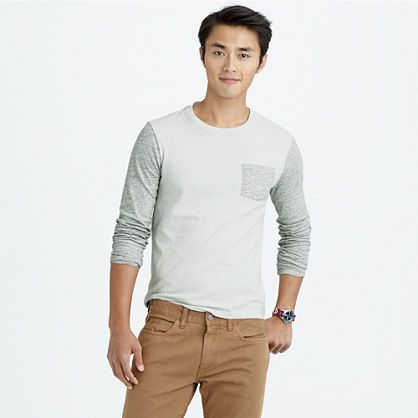Slim long-sleeve flagstone contrast pocket tee Item b5498 Size: M