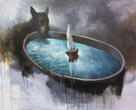 Visual artist Samuli Heimonen CUP. Acrylic and oil on canvas. 2011