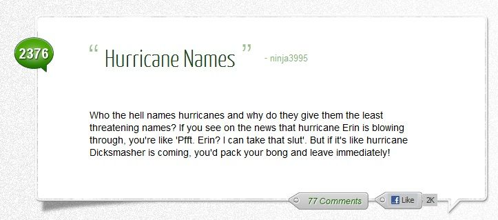 Hurricane names.