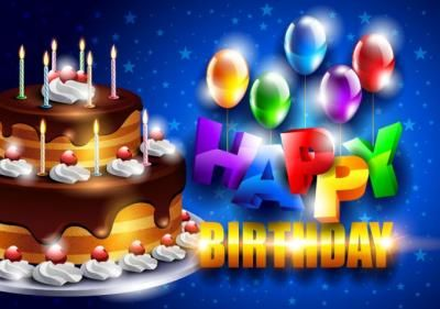 Happy Birthday colourful vector, greeting graphics. A huge tasty chocolate creamy cake with many burning candles on it. Blue background.