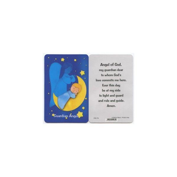 "Guardian Angel English PVC Prayer Card cm.5x8.5 - 2""x3 1/2"""