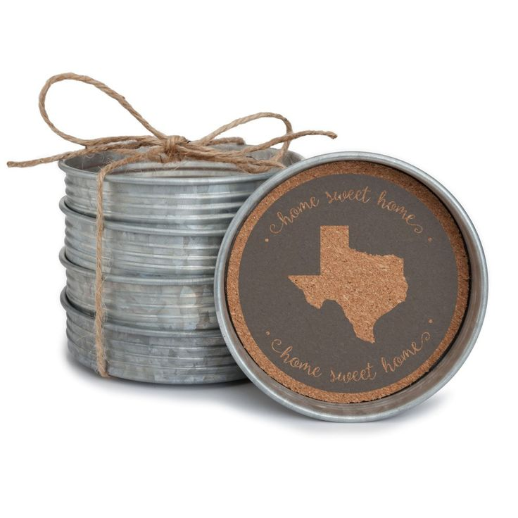 Gameday Farmhouse Coasters | Vintage Mason Jar Lid with Home State Cork | Driftwood Market | Texas | Longhorns | https://driftwoodmarket.net/collections/collegiate/products/farmhouse-coasters-vintage-mason-jar-lid-with-home-state-cork-driftwood-market