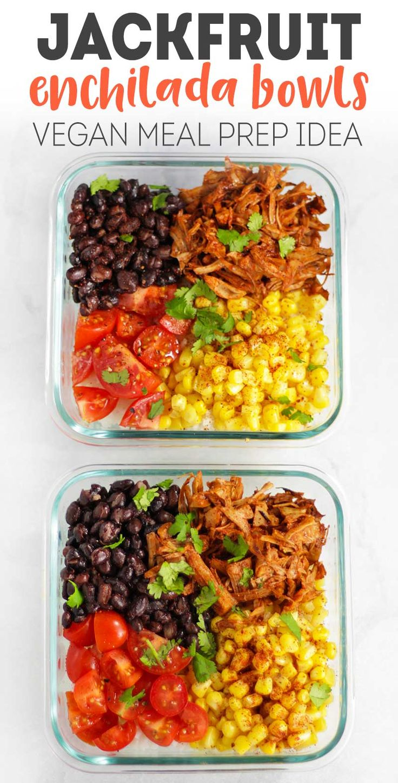 Jackfruit Enchilada Bowls - #vegan meal prep idea! #veganrecipe #mealprep #vegetarian via @karissasvegankitchen