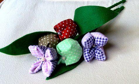 Tulipa em tecido com 4 pontas Passo a Passo -DIY, How to make Fabric F...