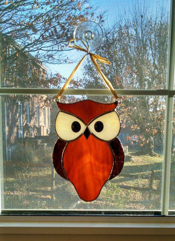 Stained Glass Owl Suncatcher - Bird Ornament - Window