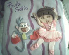 Pastel de Dora bailarina de ballet, marmoleado de vainilla con chocolate y fondant