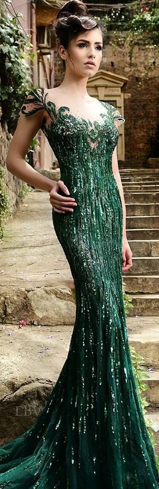 The Enchanted Forest / karen cox / Modern fairytale. Rami Salamoun Couture Evening Gown in Emerald Green