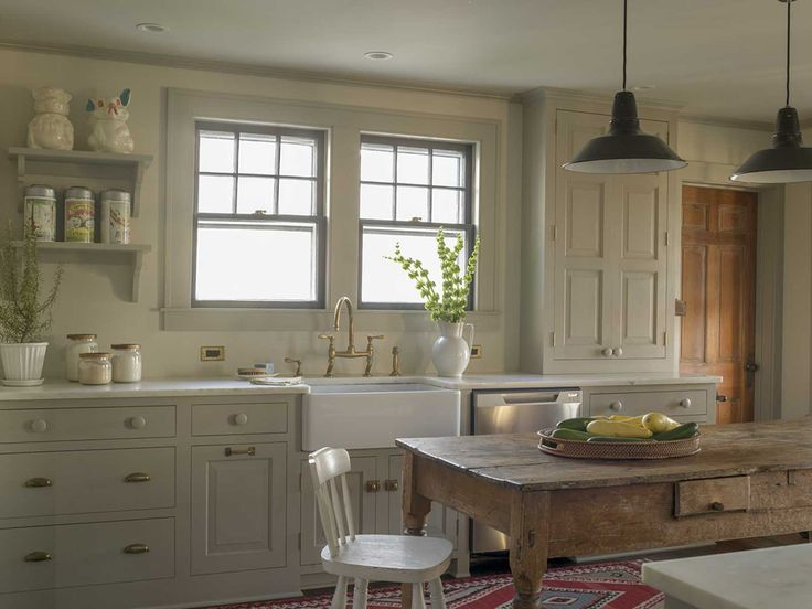 1929 Farmhouse | Rafe Churchill    Possible paint color for cabinets --   Farrow & Ball -- Vert De Terre No.234.