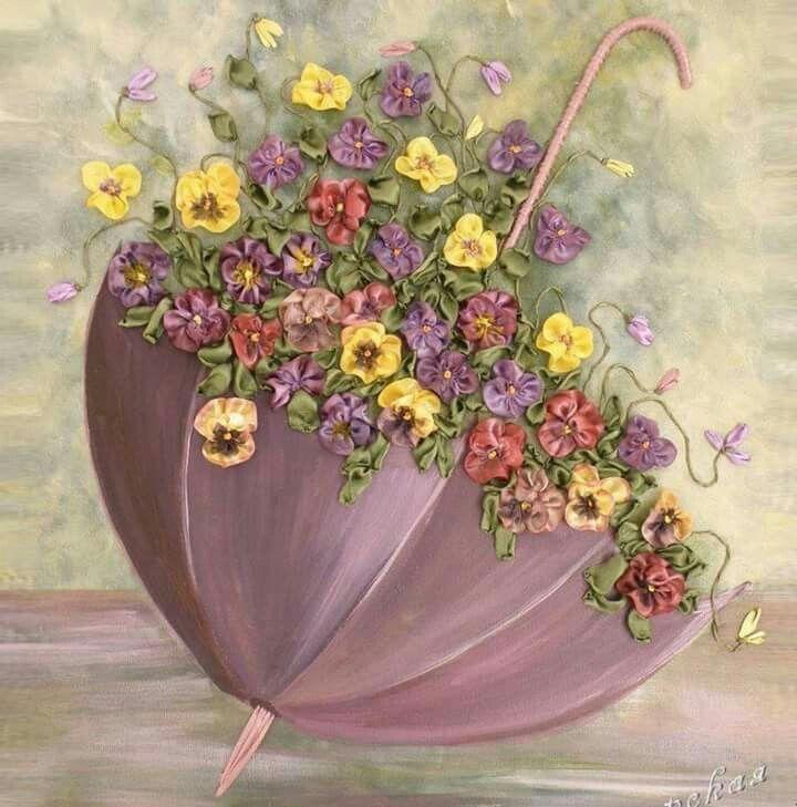 Открытка зонт с цветами, тебя люблю