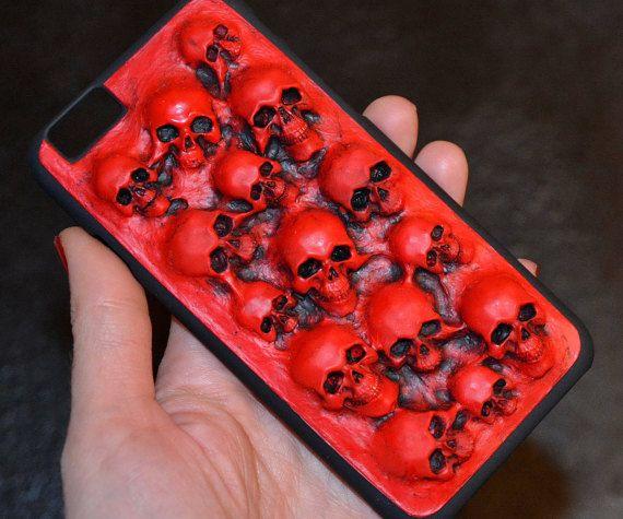 Red color - Blood - Red Phone case - Skulls - Horror phone case - iPhone 6/6s case - Red skull - For women - 3D phone cases - For men - Red