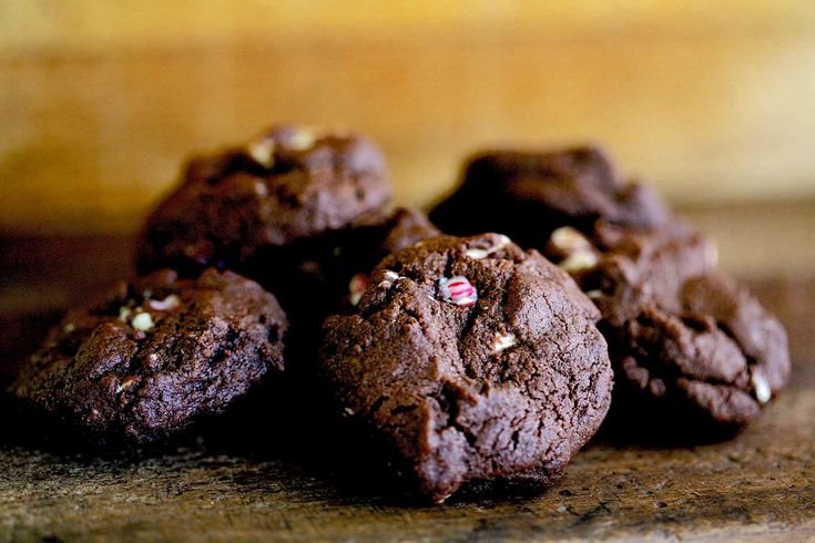 Peppermint Bark Chocolate Cookies ~ Chocolate-y, chewy, almost brownie-ish chocolate cookies peppered with white chocolate peppermint bark chips. Perfect chocolate cookie recipe for the holidays. ~ SimplyRecipes.com