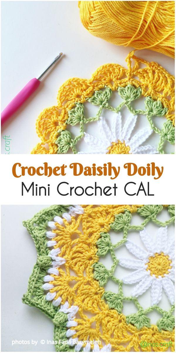 Crochet Daisily Doily Mini Crochet CAL Pattern #crochetdoilies