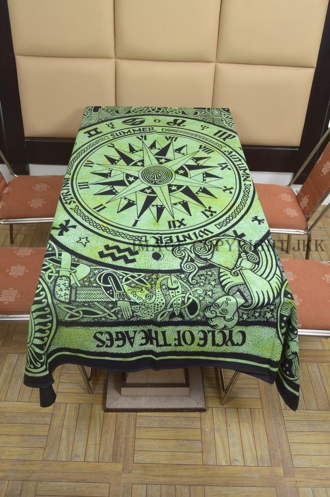 Table Cover Cotton Dinning Indian Green Color Compass Cycle of Ages Printed IWUS