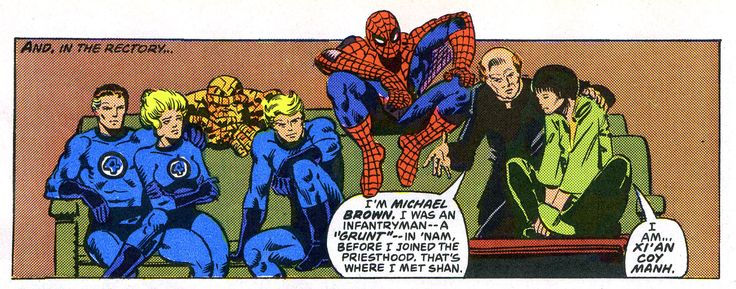 Reed Richards, Susan Storm, Ben Grimm, Johnny Storm, Spider-Man, Father Michael Bowen, and Xi'an Coy Manh. (Marvel Team-Up Vol.1 #100)