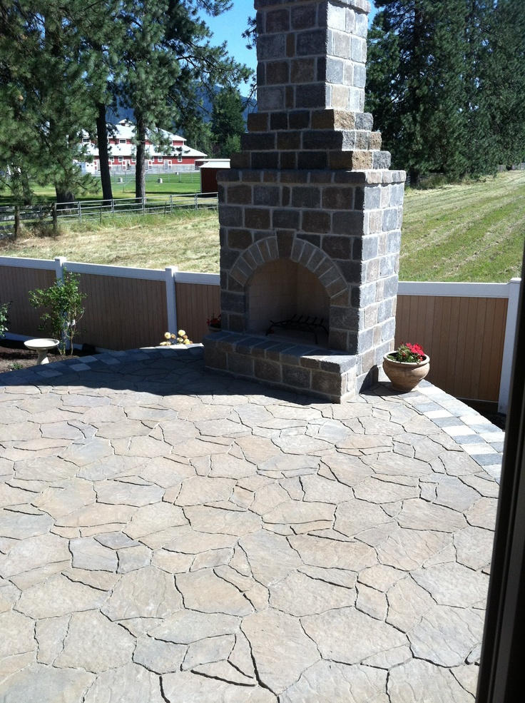 Outdoor Fireplace   Cost Effective   With A Raised Patio As Well...how