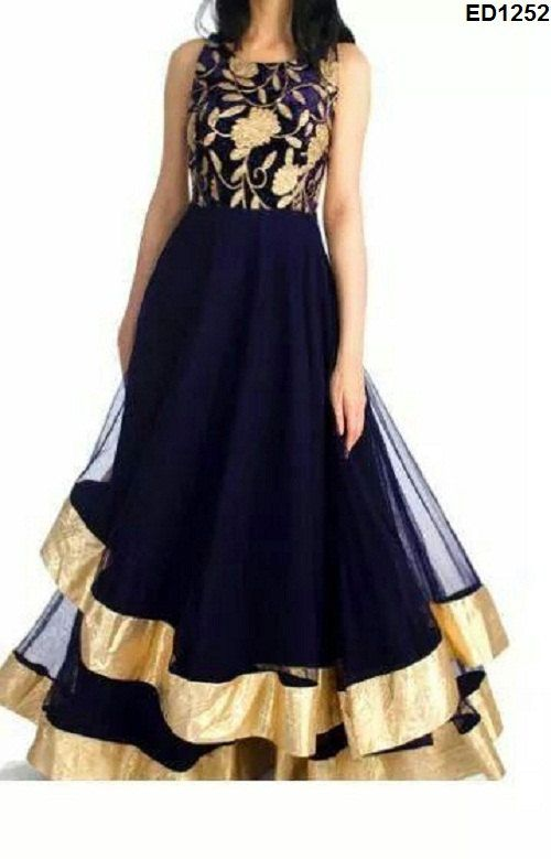 Anarkali Dress dark blue color and glamour matching churidar with net dupatta.Outstanding designer antique golden