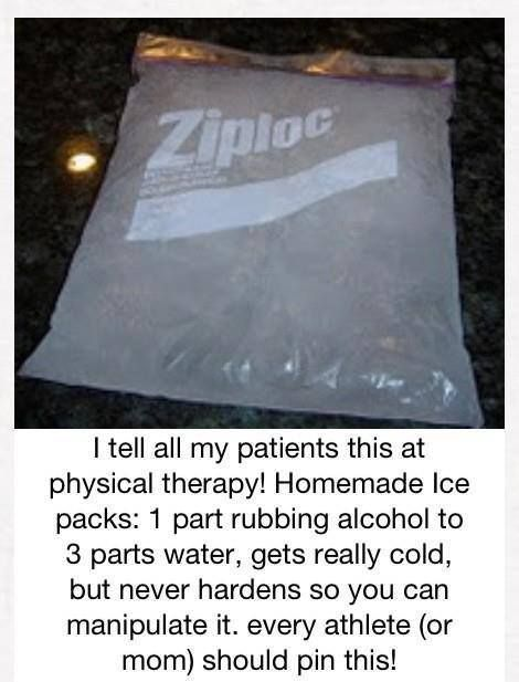Homemade Ice Pack: 1 part rubbing alcohol to 3 parts water. Gets very cold, but never hardens so you can manipulate it.