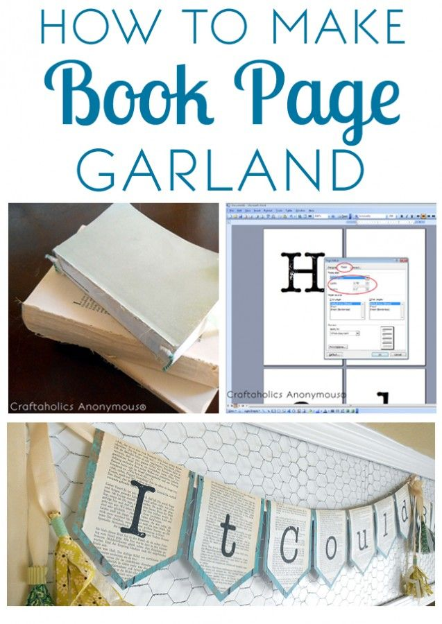 Super Easy Book Page Garland. Love the look and love how easy it is to whip out in minutes!