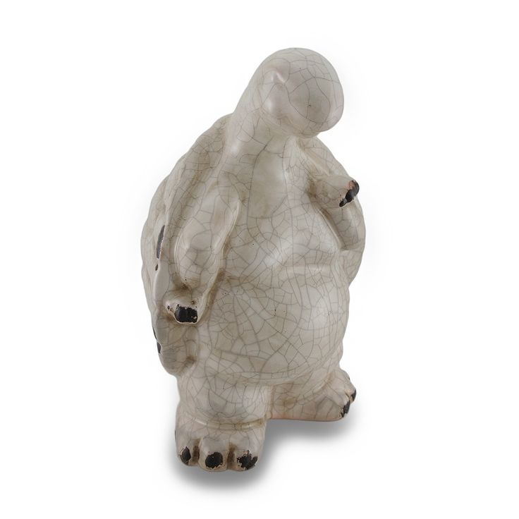 Distressed Finish Ceramic Turtle Indoor / Outdoor Statue (White)