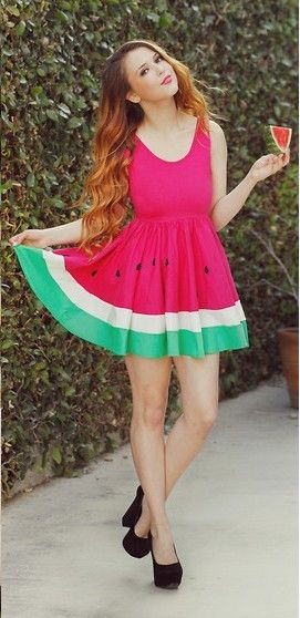 Watermelon sundress, Love it! Great for in the summer time! There is nothing more refreshing ( and tasty) than a big gigantic slice of nice, cool, delicious, watermelon!