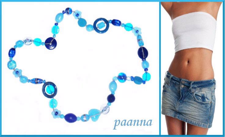 Collana Denim by Paanna su DaWanda.com. Collana con perle di vetro. Necklace to any outfit. Timeless Necklace. Necklace Beads glass.