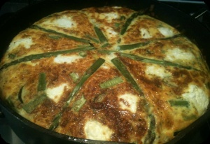 Asparagus, Leek and Goats Cheese Fritatta - I promised you an asparagus recipe and here it is.  This frittata is delicious and filled with the goodness of fresh herbs, green asparagus and vegetables.  http://sautepanrecipes.com/asparagus-leek-and-goats-cheese-fritatta/