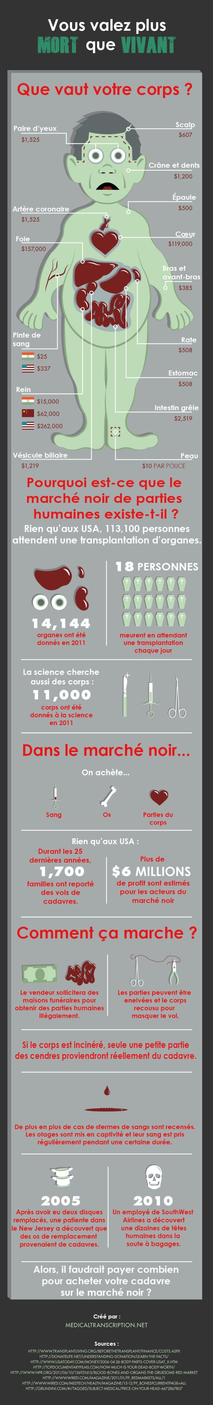 Infographie bien valent nos différentes parties du corps