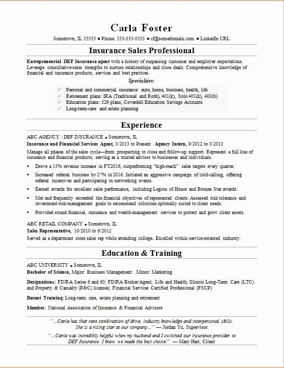 Insurance Sales Resume Sample Resumecompanion Com Insurance