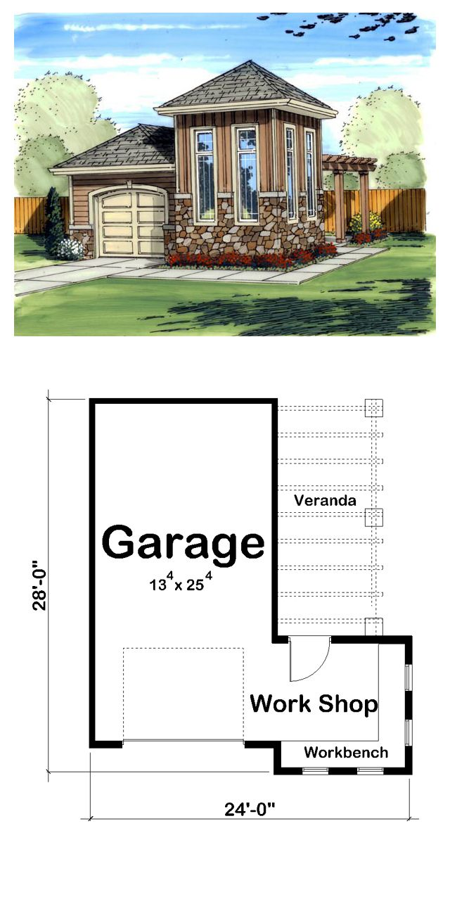 One car garage plan 41125 garage area 408 dimensions for Five car garage