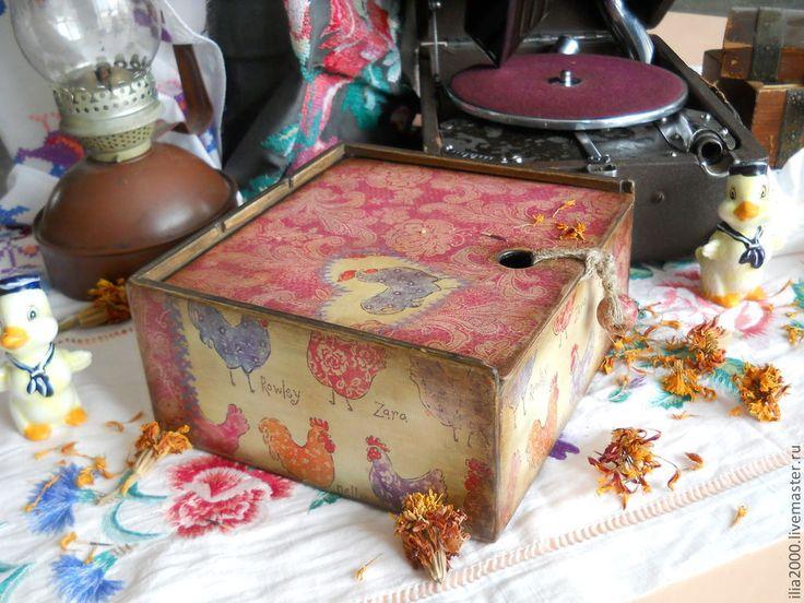 """Купить Коробка для чайных пакетиков """"Уютная"""" - розовый, зеленый, шкатулка, чайная шкатулка, шкатулка для чая"""