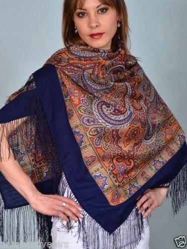"Russian Pavlovo Posad shawl scarf 125 x 125cm(49x49"") 100% wool, 100% silk fringe                                                                                          A LA RUSSE"
