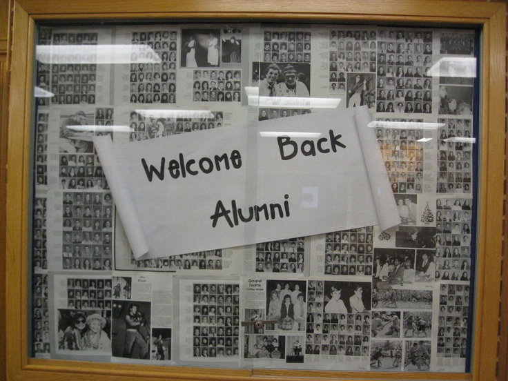 Homecoming bulletin board at the Messiah College Campus Store, using old yearbook pages.