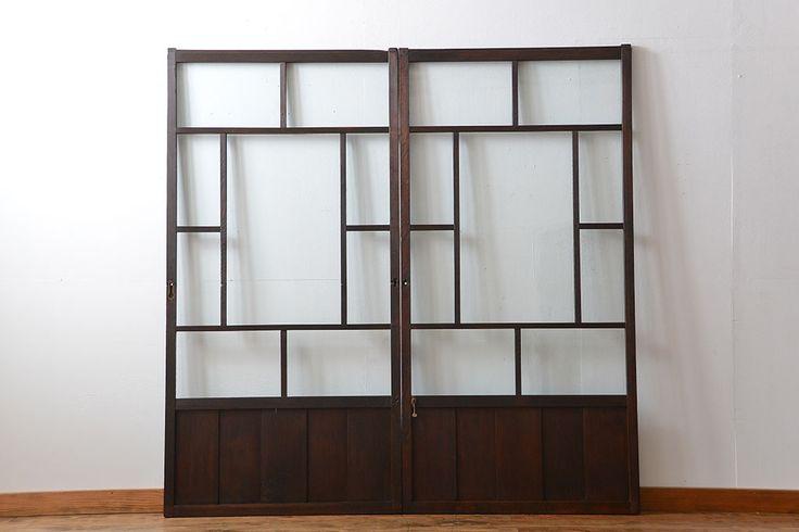 大正ロマン クリアガラス引き戸 2枚セット(パーテーション、ガラス戸、パネル、スクリーン)_20