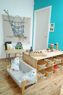 Within the Reggio Emilia schools, great attention is given to the look and feel of the classroom. Just feast your eyes on some of the wonderful images of Reggio Emilia inspired preschools I have found lately: