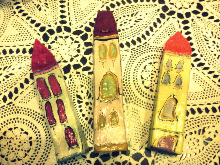 Little Houses, made of clay and acrylic paint.