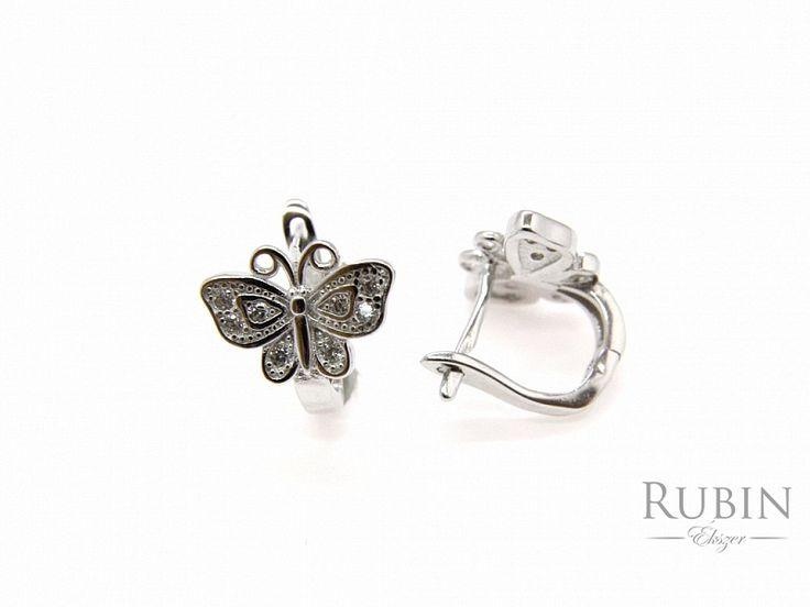 Pillangó motívumos cirkónia köves ezüst fülbevaló