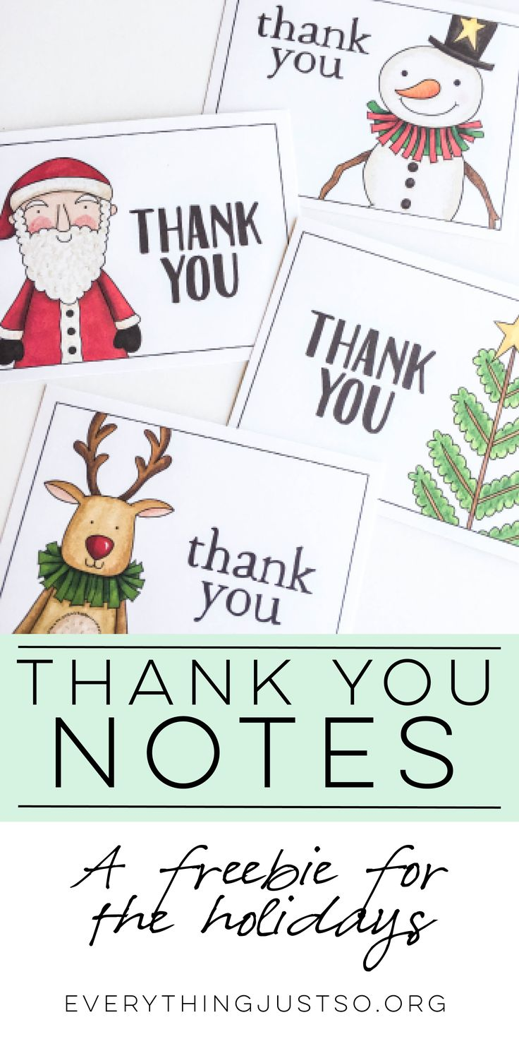 Holiday Thank You Notes | everythingjustso.org | A free resource for you and your students this holiday season. Simply copy onto cardstock, cut out, and write a short message on the back.