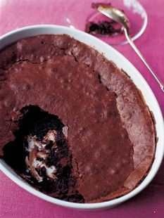 Ina Garten's brownie pudding. It's decadent, so I serve with vanilla bean ice cream to cut the sweet :). Also, I can get 8-10 servings out of this (she recommends six).