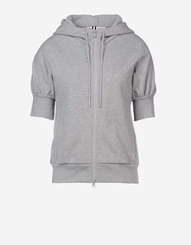 Light grey hoodie by Y-3. With cropped sleeves.