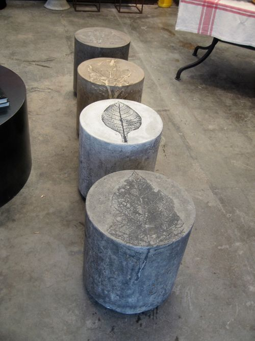 retreat house or cabin firepit seating Concrete stools with leaf prints. You could do this yourself.